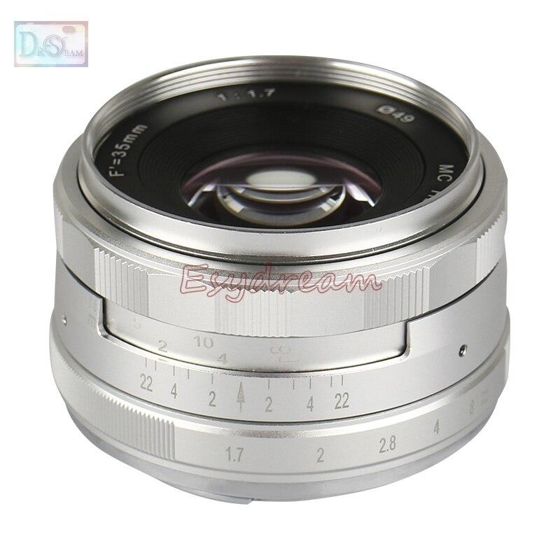 Silver Black 35mm f/1.7 Manual Lens for Olympus Panasonic M43 MFT EP5 OM-D E-M5 E-M1 E-M10 Mark II GX8 G7 GX7 GX85 35 mm F1.7 фотоаппарат olympus om d e m5 mark ii kit 12 40 mm f 2 8 black
