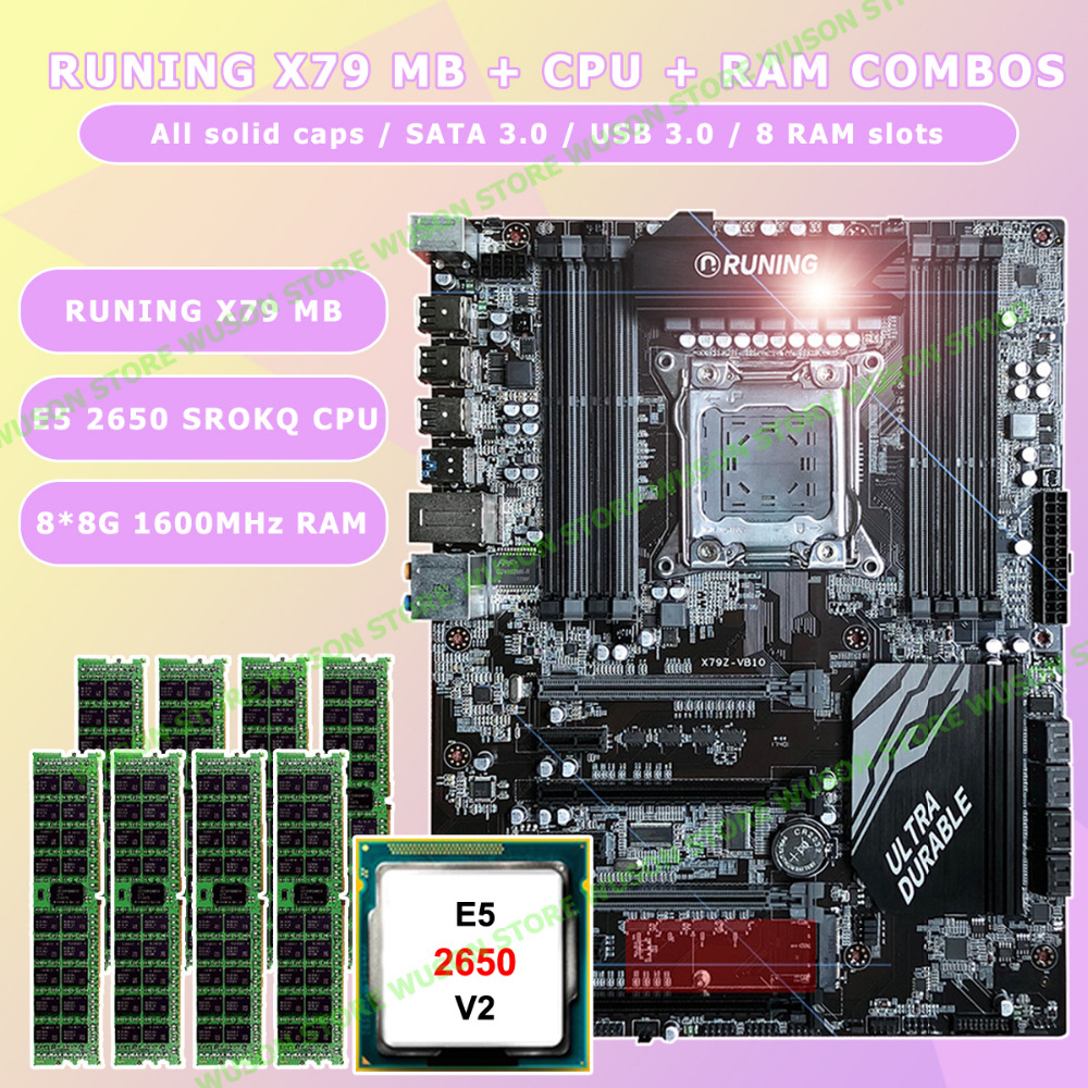 New!!Runing Super ATX X79 LGA2011 motherboard 8 DDR3 DIMM slots max 8*16G memory Xeon E5 2650 V2 CPU 64G(8*8G)1600MHz DDR3 RECC e5 3 3c motherboard lga2011 intel cpu interface atx standard type motherboard structure ddr3 memory for desktop