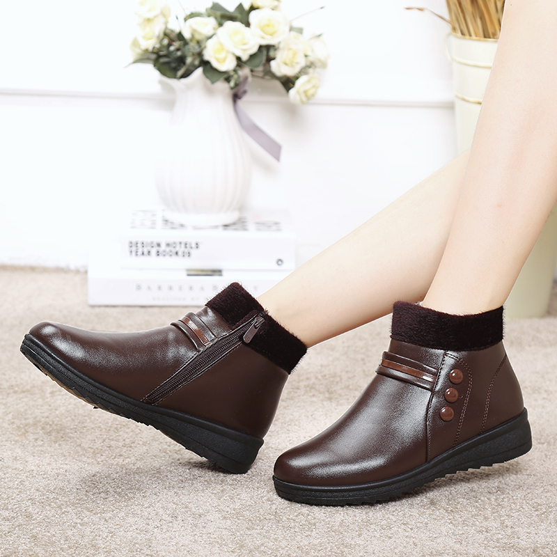 ZZPOHEwinter mother cotton shoes waterproof plus warm comfortable grandma shoes elderly flat women boots Ladies Ankle Snow Boots