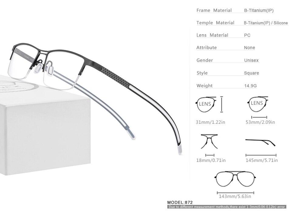aro quadrados miopia óculos ópticos 872