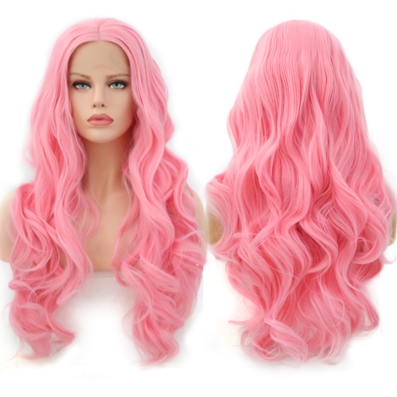 Charisma Long Body Wave Pink Wig Glueless Heat Resistant Hair Synthetic Lace Front Wig Middle Parting