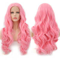 Charisma Long Body Wave Pink Wig Glueless Heat Resistant Hair Synthetic Lace Front Wig Middle Parting Wigs For Black Women