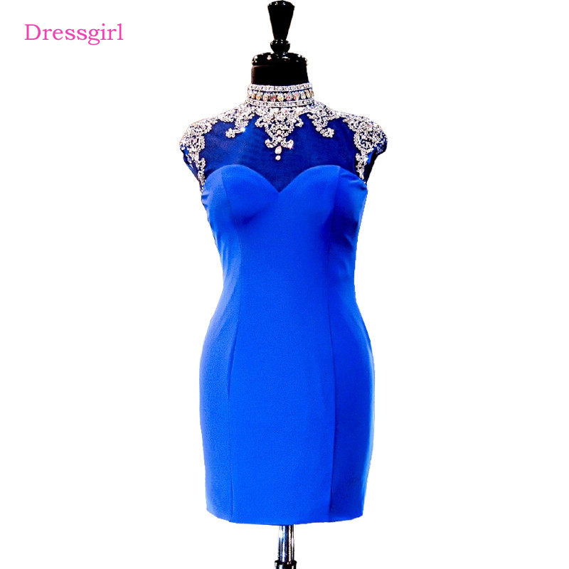 Royal Blue 2017 Elegant   Cocktail     Dresses   Sheath Cap Sleeves Short Mini Crystals Beaded Open Back Homecoming   Dresses