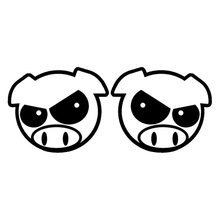 11.3cm*9.1cm Evil Rally Pigs Cartoon Rearview mirror Decals Stickers Black/Silver S3-4793