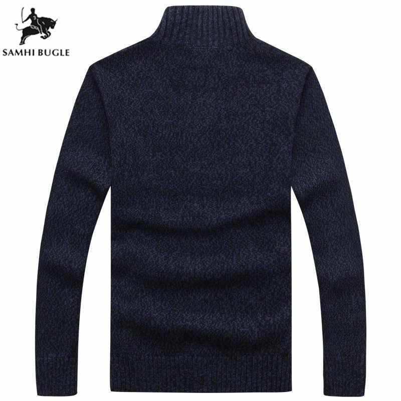 Herren Pullover für 2019 Winter Verdickung Warme Kaschmir Pullover Männer Fashion Zipper Strickjacke Männer Grau Schwarz Pullover Männer