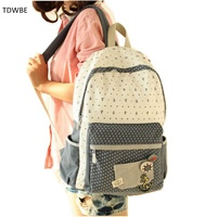 Free Shipping Fashion Canvas Women Backpack School Bag Student Bag Female College Shoulder Bag Dot Backpacks