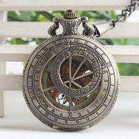 Vintage Mechanical Pocket Watch Doctor Who Style Roman Numerals Carving Dial Watches Pendant Chain Women Men Gifts TJX041