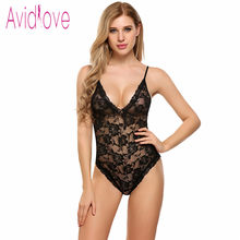Avidlove 2017 sexy lingerie hot erotic underwear lace perspective deep V teddy  bodysuit sexy lingerie floral 1452309a1