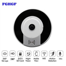 hot deal buy fghgf panoramic wireles ip camera audio video wifi 3mp hd fisheye lens wide angle night vision vr cctv home security ip camera