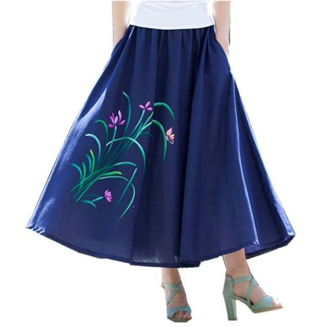 6775c3ac3b2a 2017 New Fashion printed midi skirt women big swing long skirt ethnic folk-custom  linen skirts ankle-Length women skirts