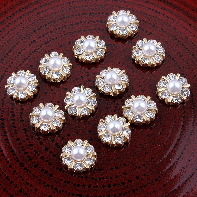 30PCS Vintage Handmade Metal Decorative Buttons+Crystal Pearls Craft Supplies Flatback Rhinestone Buttons For Hair Accessories