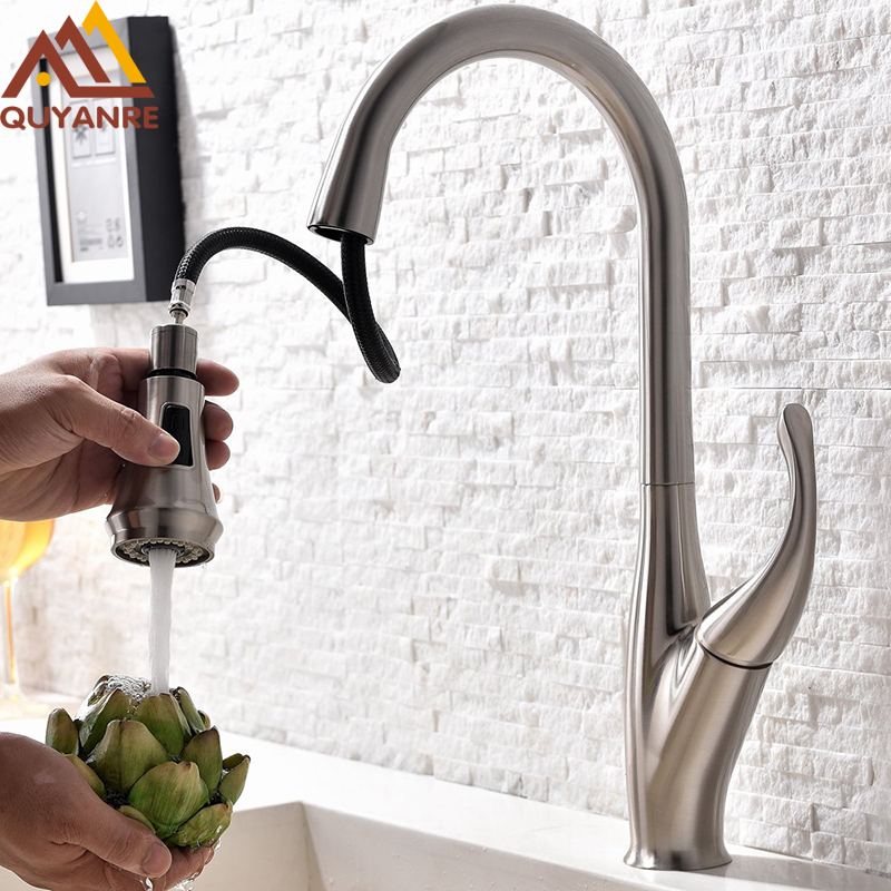 Quyanre Chrome Brush Pull Out Spray Kitchen Faucet Torneira Single Hangle Brass Mixer Tap Sink Faucet 360 Rotation Deck Mount chrome kitchen sink faucet solid brass spring two spouts deck mount kitchen mixer tap