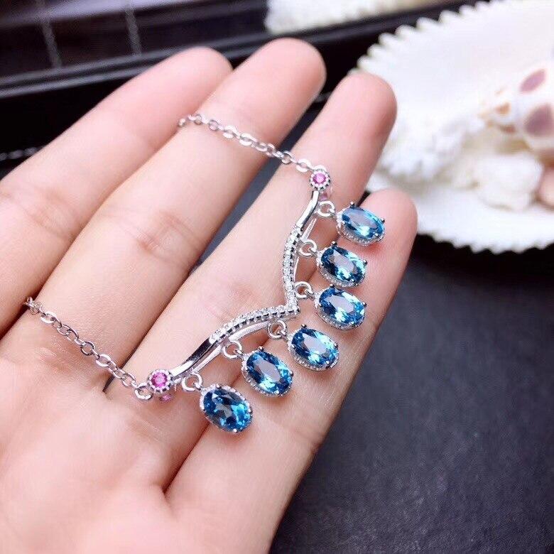 blue Topaz gemstone pendant chain for necklaceblue Topaz gemstone pendant chain for necklace