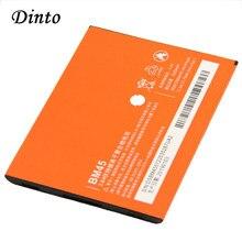 Dinto bateria de celular para substituição bm45, 1 peça de 3020mah, recarregável, íon de lítio para xiaomi redmi note 2 hongmi note2