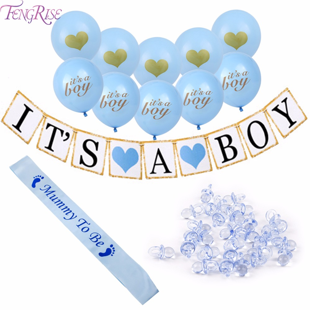 FENGRIS Baby Shower Decorations for Boy Its aBoy Banner Balloon Mini Pacifier Blue Mummy To Be Sash Baby Shower Favors Supplies