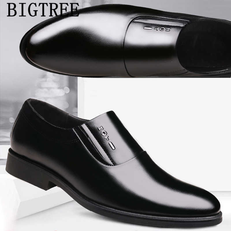 Formele schoenen mannen bruin instappers mannen zakelijke schoenen kantoor schoenen mannen klassieke coiffeur sepatu slip op pria zapatillas de hombre