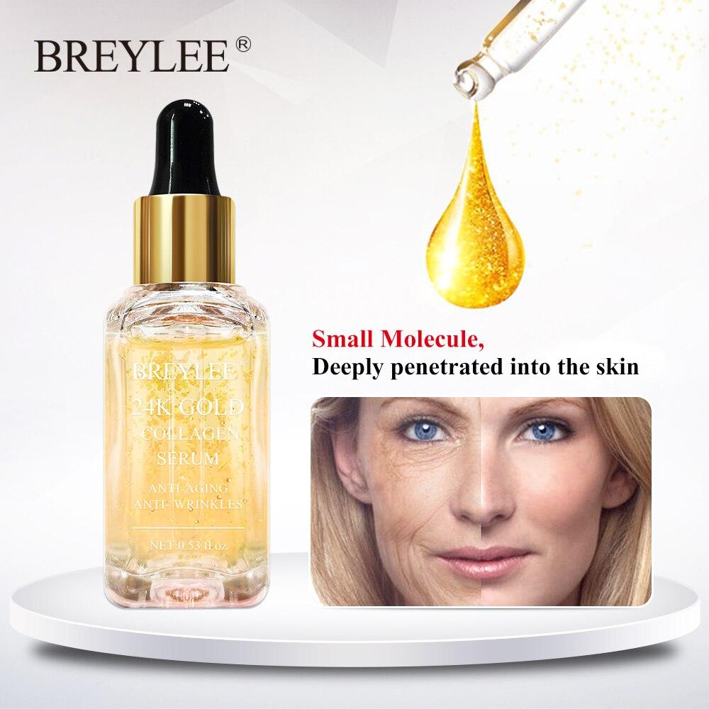 BREYLEE 24 k oro suero colágeno esencia Anti-envejecimiento quitar las arrugas el cuidado de la piel de elevación reafirmante blanqueamiento Reparación de suero 15 ml