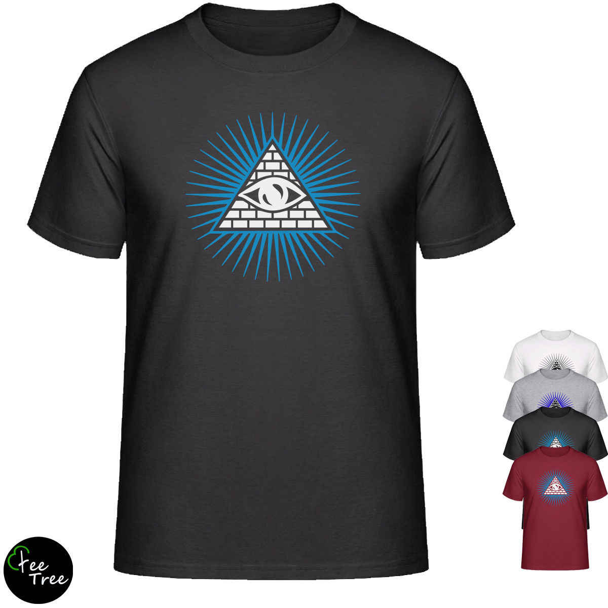 """""""Illuminati eye"""" простая футболка унисекс, дизайнерская хлопковая футболка, повседневная принтованная футболка, забавная футболка в стиле хип-хоп, мужские футболки"""