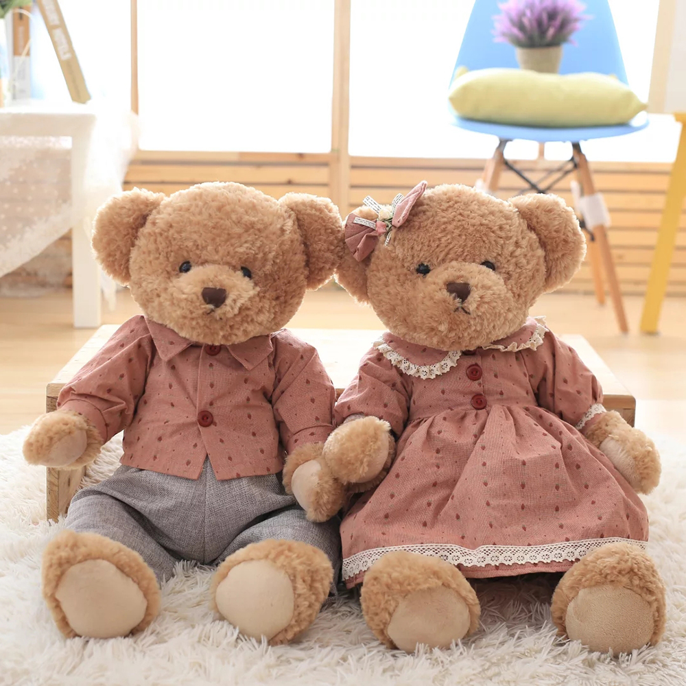 2017 2PCS 60CM lovely Couple Teddy Bears Stuffed Plush Toys Valentine Teddy Bear Soft Kids Toy for Children Gifts Free shipping giant teddy bear soft toy 160cm large big stuffed toys animals plush life size kid baby dolls lover toy valentine gift lovely