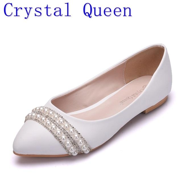 Crystal Queen Vrouwen Bruids Schoenen handgemaakte Dame parel witte bruiloft schoenen flats sexy comfortabele Witte Parel Jurk Schoenen