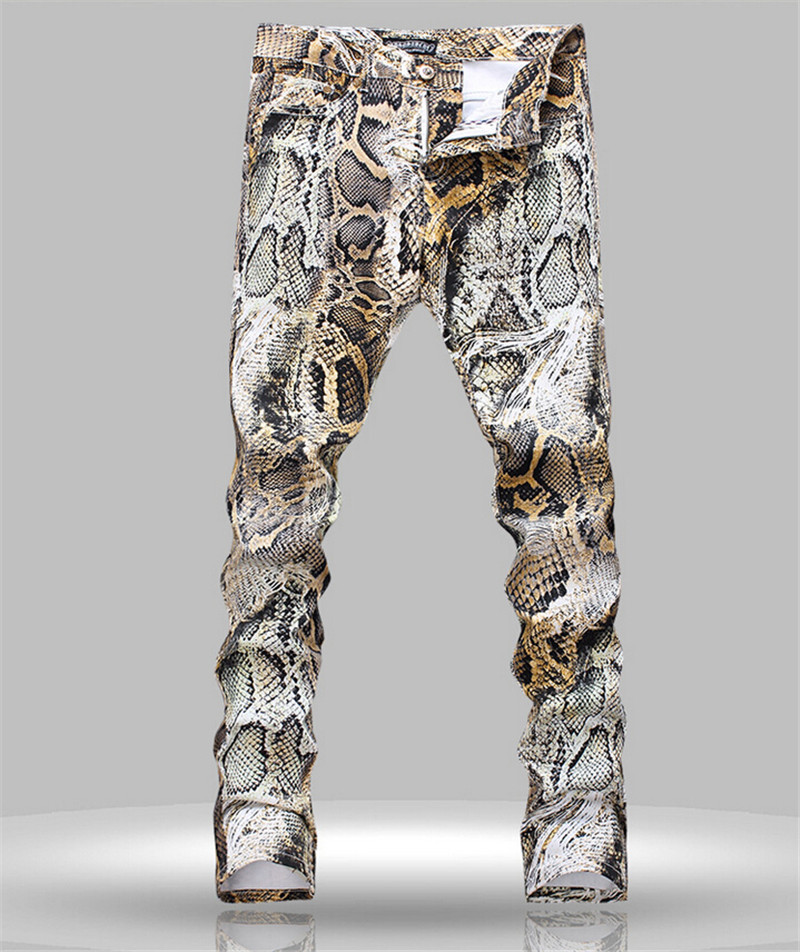 New 2015 Spring Winter New men jeans Pants Skinny Jeans Men Slim fit Painted Snakeskin Print