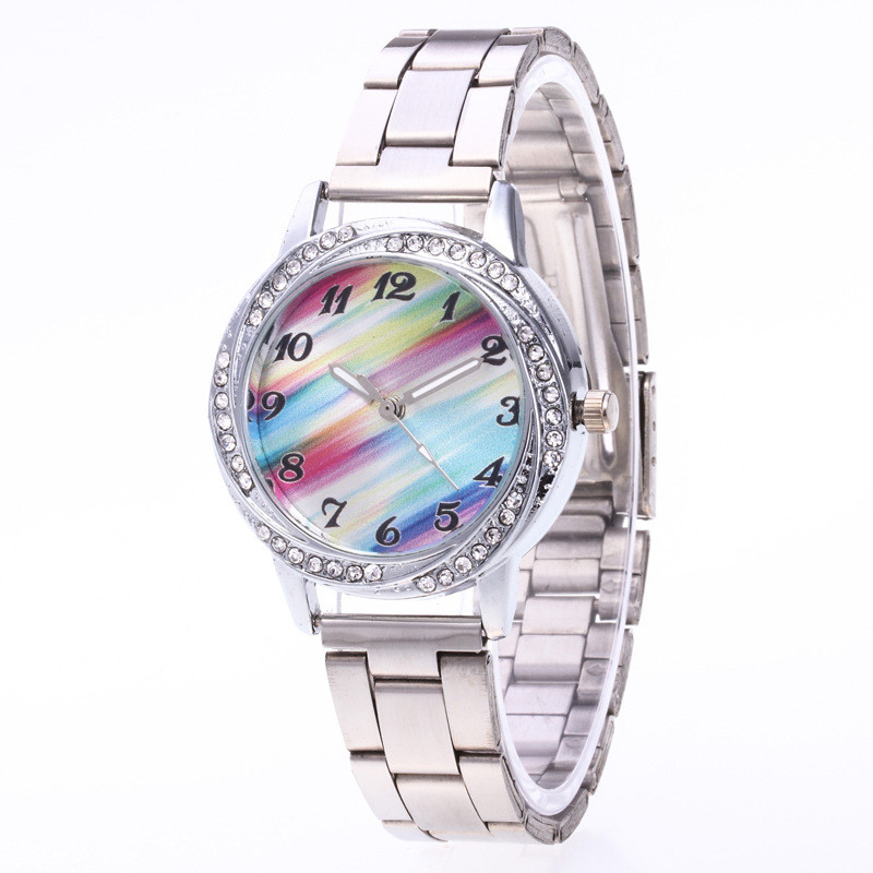 LASPERAL Colorful Dial Wrist Watch For Women Shine Rhinestone Stainless Steel Quartz Watches Ladies Bracelet Dress Quartz Clock xinhua 681 bracelet style quartz watch with rhinestone dial stainless steel band for women