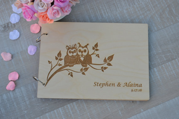 Wedding owls Gift Personalised Guest Books Decor Rustic Wedding