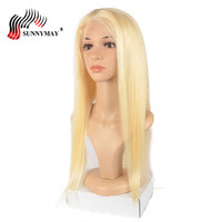 Sunnymay Indian Virgin Hair Full Lace Human Hair Wigs Silk Straight #613 Color Pre Plucked Lace Wigs With Baby Hair