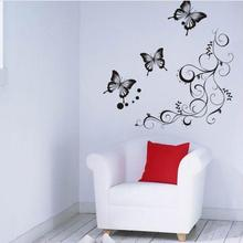 Butterfly flowers wall art  living room diy removable wall sticker bedroom wall decals home decoration plant poster