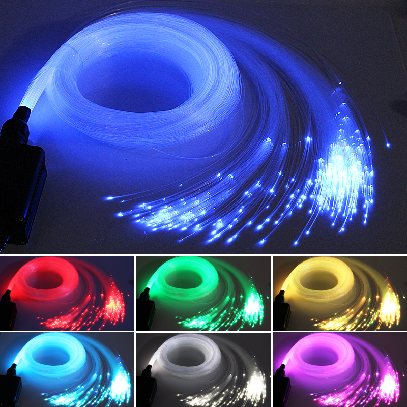 Fiber Optic Lights 16W RGBW Starry Sky Effect Ceiling Lighting RF Remote 2m 3m 4m 5m Optical Fiber Cable Car And Home Decoration