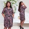 Большой размер 6XL 2016 Жира ММ Женщина dress Лето повседневная с длинным рукавом печати платья плюс размер женская одежда 6xl dress