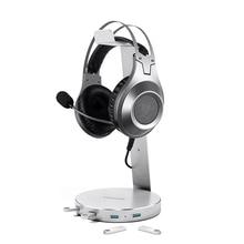 Lesozoh Universal Headset Metal Aluminum Headphone Stand With 5 Ports of 3.0 USb HUb Display for Holder Desktop Hanger