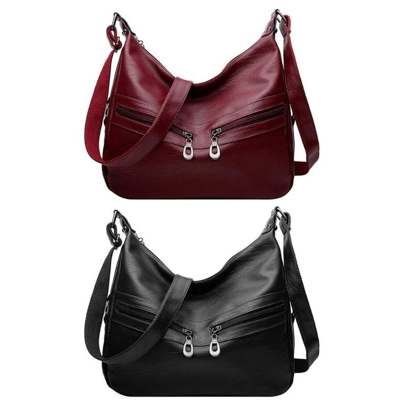 Women Hobos Handbag Brand Fashion Zipper PU Leather Shoulder Bag Elegant Office Ladies Messenger Bag Female Totes Shopping Bags 2
