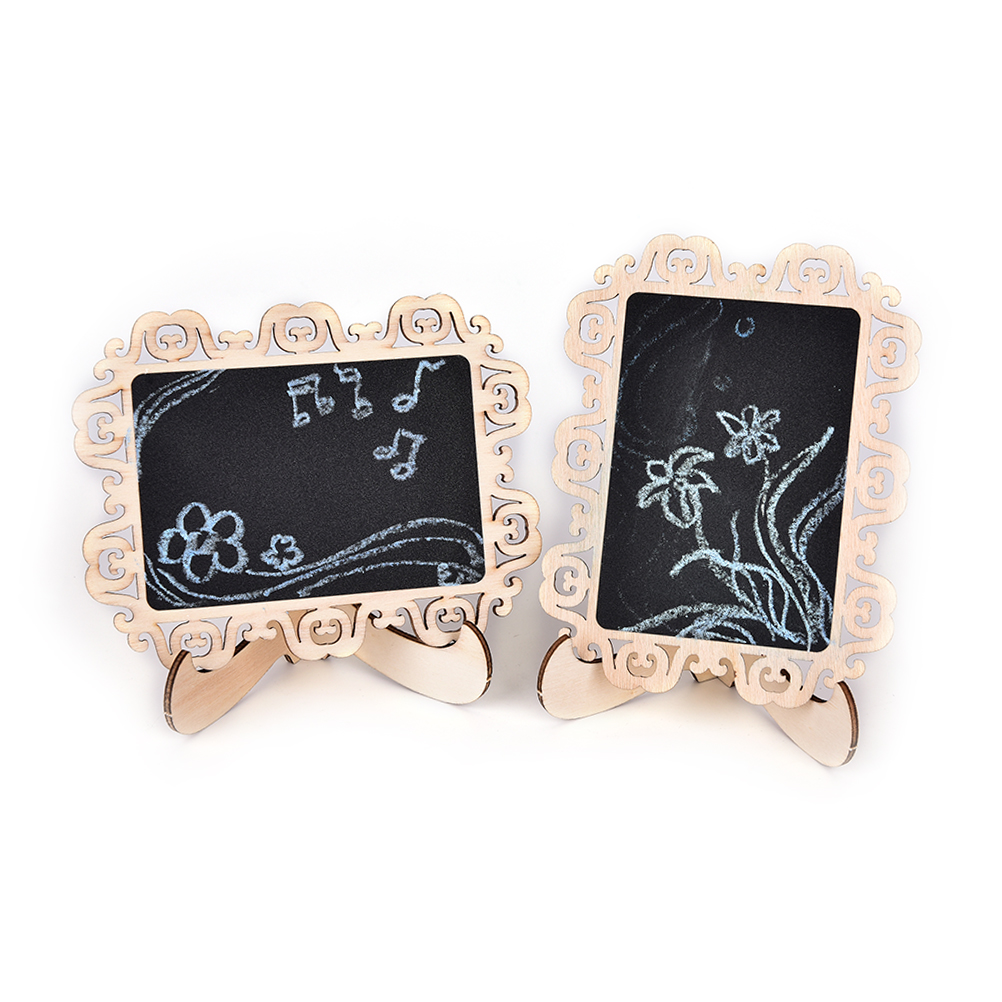 1Pc Vintage Lace Hollow Style Mini Holders Blackboard With Stand DIY Writing Message Board Gift Office School Supplies