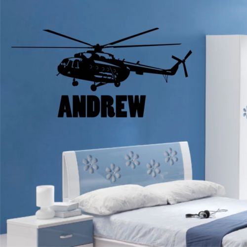 HELICOPTER army apache personalised childrens boys mens bedroom wall stickers
