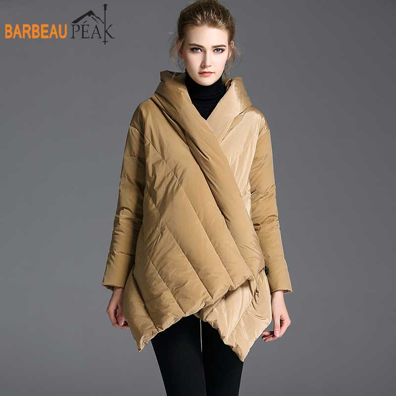 Barbeaupeak 2018 Women Warm Down Jackets Autumn Winter Casual Red Khaki Black 90% White Duck Down Bad Sleeved Long Down Coats