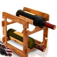 竹木材赤ワインラック用バーウイスキー棚4ボトルマウントキッチンホルダー展オーガナイザーワインぶら下げアクセサリー