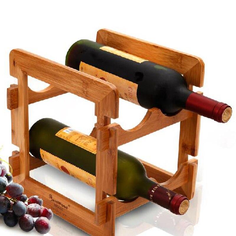 Wood Whisky Bottle Holder Ideas: Bamboo Wood Red Wine Rack For Bar Whisky Shelf 4 Bottle