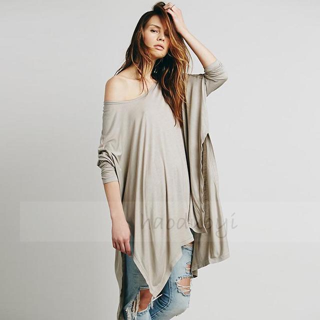 Women Autumn Summer Long T Shirt Batwing Sleeve O neck Tops Casual T Shirt Women Plus Size XXL Irregular Hem Split T shirt