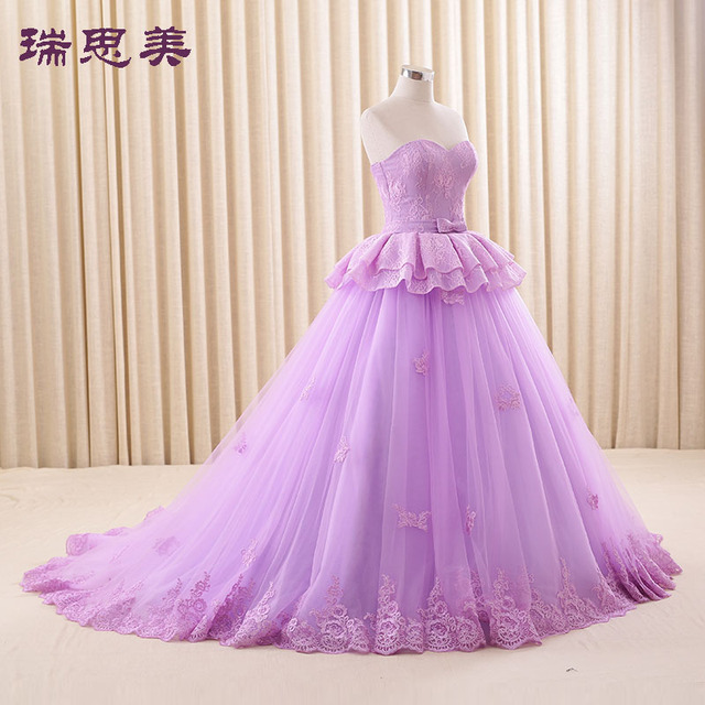36c1b21eb7f Lavender Ball Gown Tulle 2016 Wedding Dresses Sweetheart Lace Accent Bridal  Dress With Corset Back Long