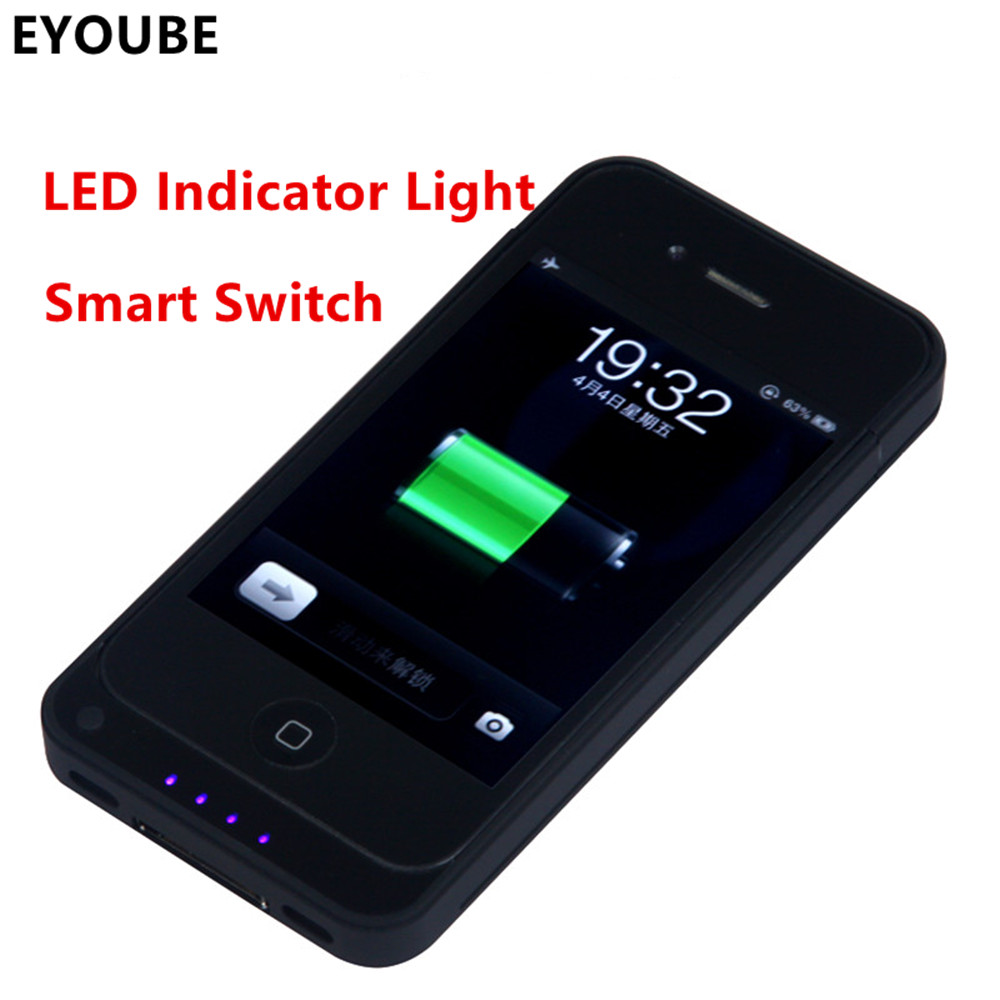 imágenes para EYOUBE para iPhone 4 4S 4000 mAh Recargable Cargador de Batería Externo de la Energía Bank Funda para el iphone 4 4S