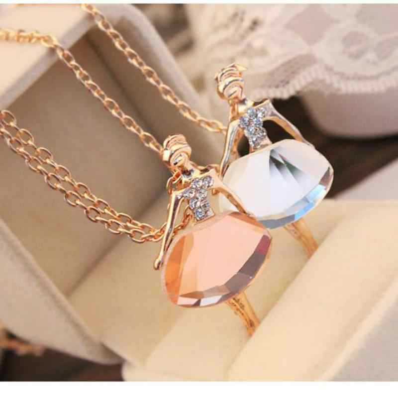 Stylish And Beautiful Personality Romantic Ballerina Girl Inlaid Crystal Long Gold And Silver Necklace Female Wild Sweater Chain