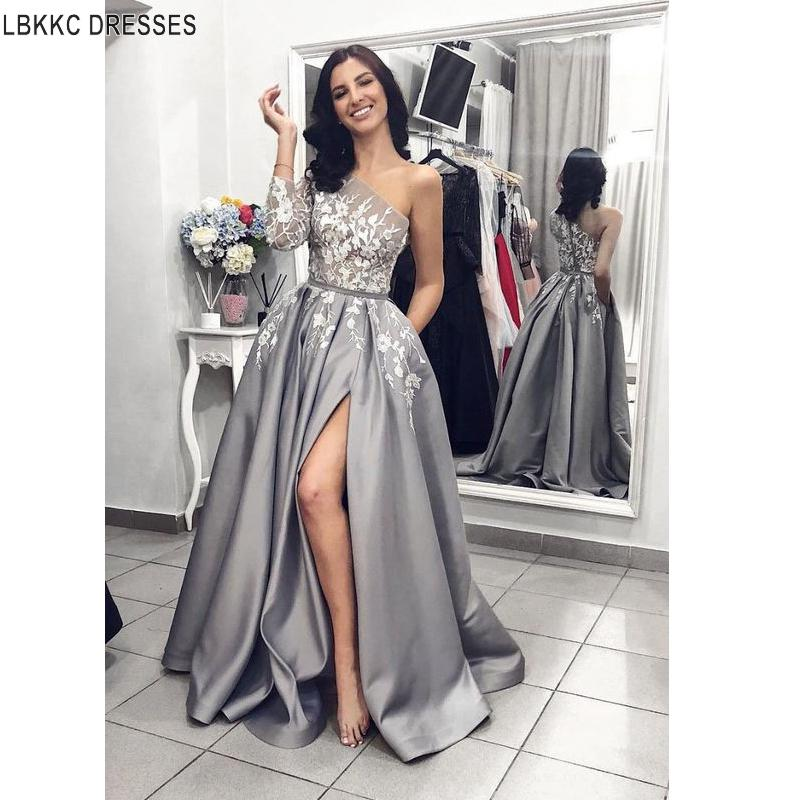 A-Line   Evening     Dresses   With slit One Shoulder Gray Satin Women Gown Formal Party   Dress   2019 Vestidos De Festa Longo Abiye Elbise