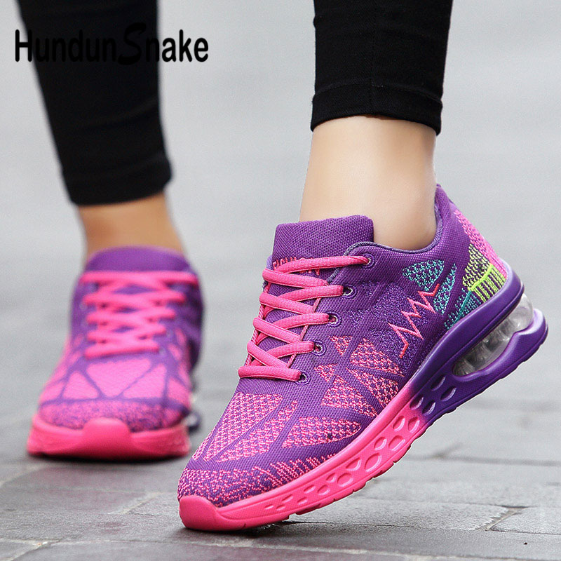 Hundunsnake Summer Sneakers Woman Fitness Air Cushion Running Shoes For Women Mesh Tennis Women's Shoes Purple Scarpe Donna G-27