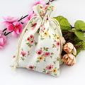 Cotton Linen Mini Muslin Gift Drawstring Bags 10x14cm Mini Flower Necklace Bracelets Bangle Jewelry Wedding Party Favor Holders