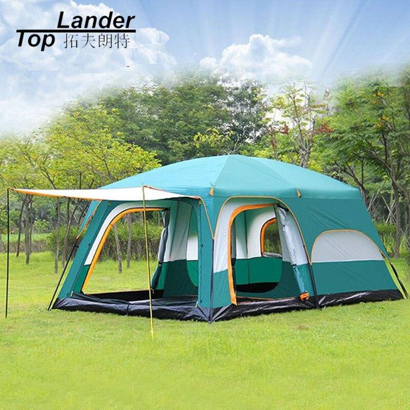 Grande Tente Famille Étanche Double Couche 8 10 12 Personne Cabine Tente Deux Salons De Luxe Camping Chapiteau Tentes