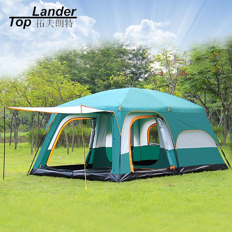 Large Tent Family Waterproof Double Layer 8 10 12 Person Cabin Tent Two Living Rooms Luxury Camping Marquee Tents new arrival fully automatic two hall 6 8 person double layer camping tent against big rain large family outdoor tent 190cm high