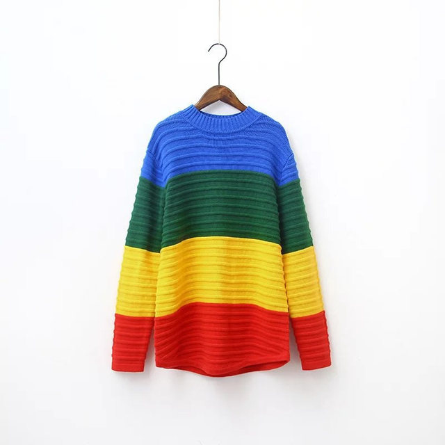 Sexy thick pullovers Sweater Rainbow Color Block Knitted Loose Oversized Sweater Jumper Autumn Winter Women Pullovers Sweater