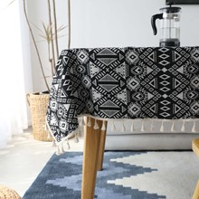 Dinner Tablecloth Rectangular Cotton Linen Geometric Print Table Cloth for Home Tea Table Cover Wedding Table with Tassels цена 2017