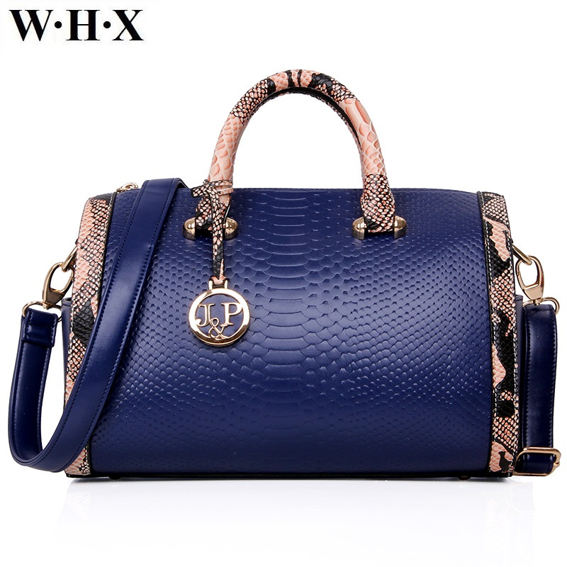 WHX Fashion Casual Style Women Tote Bags CrossBody Bag Designers Female Handbag Pu Snakeskin Leather Shoulder Messenger Bag Blue whx new style casual fashion women tote bag crossbody bag female shoulder messenger bag leather cartoon cat bear sequin handbag